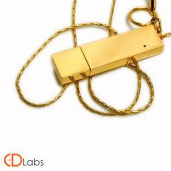Металлическая флешка золото со шнурком