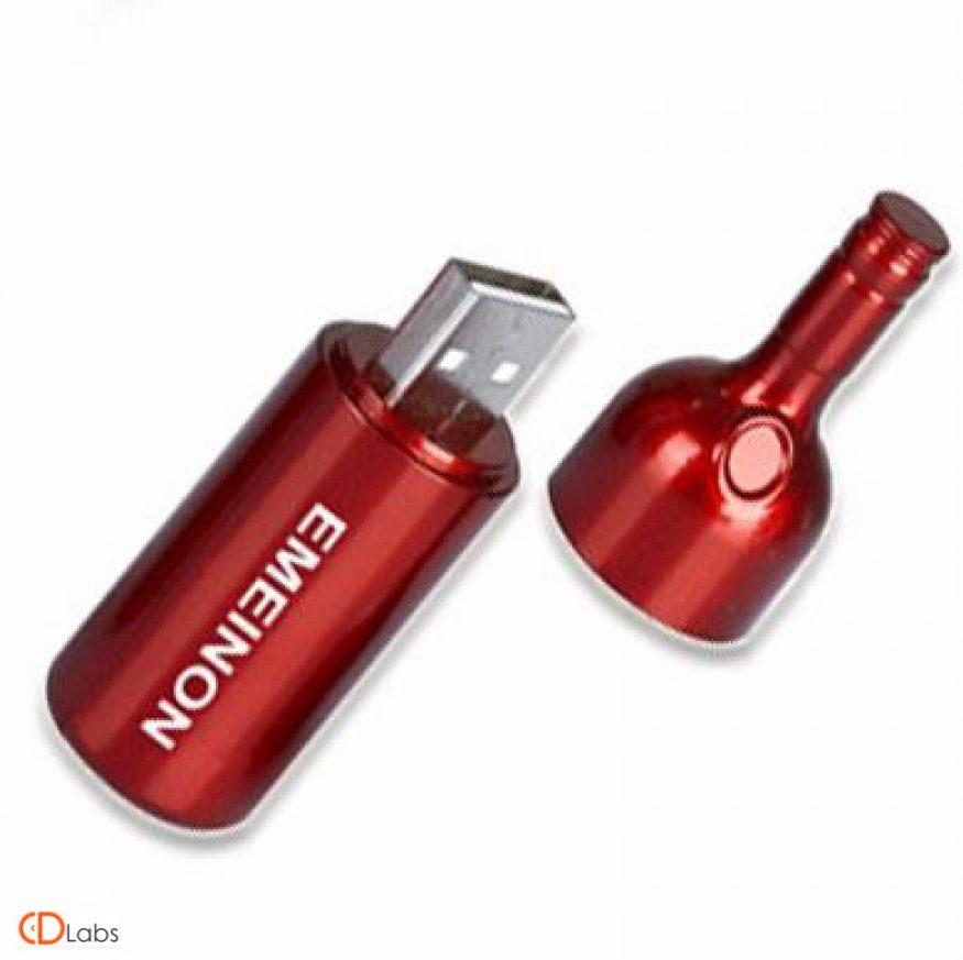 Металлическая флешка — бутылка Красная