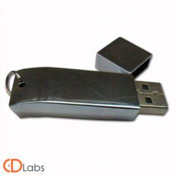 Металлическая флешка серебристый металлик