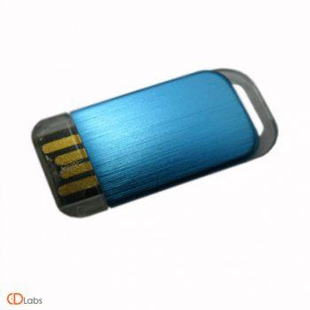 Мини флешка синяя пластиковая