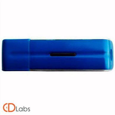 Пластиковая флешка синяя прямоугольная с колпачком