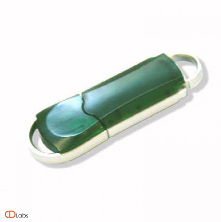 Пластиковая флешка прозрачная зеленая