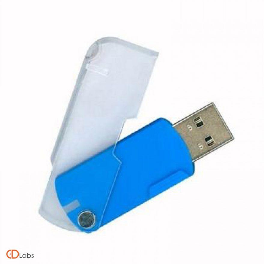 Пластиковая флешка сдвижная синяя