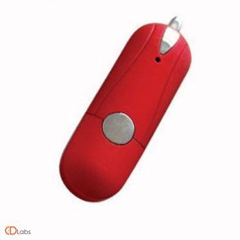 Пластиковая флешка красная с кнопкой
