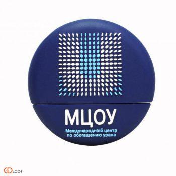 Флешка по вашему дизайну круглая синяя