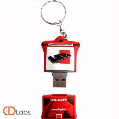 Красно-черная флешка в форме брелка для ключей