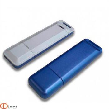 Пластиковая флешка белая, синяя под логотип