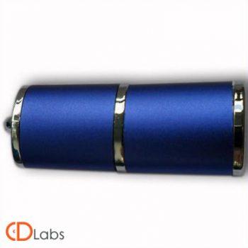Пластиковая флешка синяя с металлом