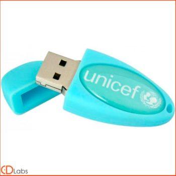Флешка силиконовая голубая Unicef