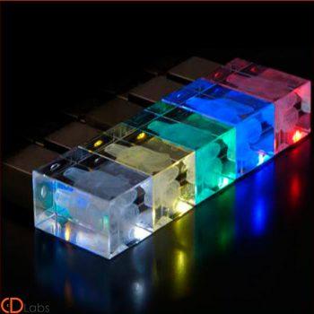 Флешка cтеклянная цветная прозрачная